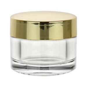 Gold/Clear Cosmetic Jar Set