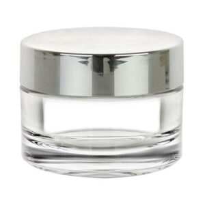 Silver/Clear Cosmetic Jar Set